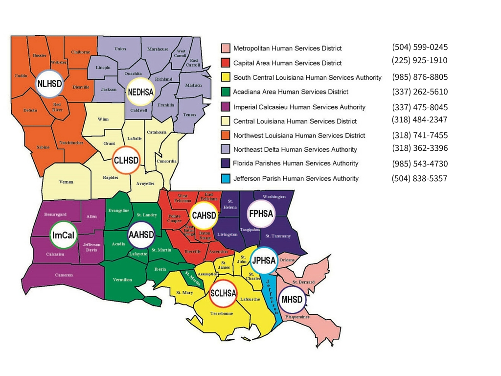 Picture of the state of Louisiana with the phone numbers for each of the 9 Human Services Districts across the state.